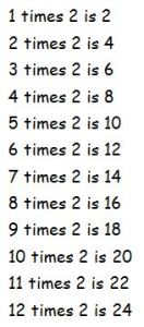 2 times table spoken
